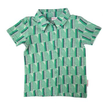 Baba Babywear Boys Shirt Short Sleeves Jacquard Green Stripes