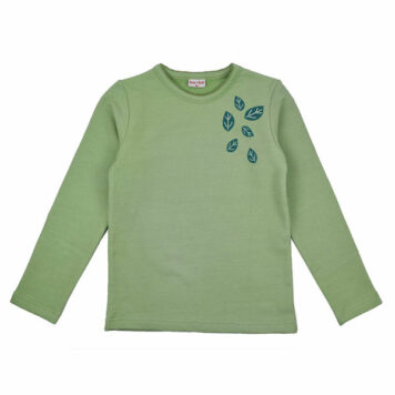 Baba Babywear Longsleeve Girls Leaves Smoke Green
