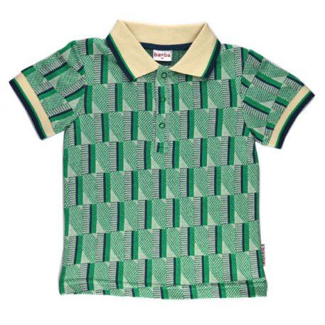 Baba Babywear Polo Shirt Boys Jacquard Green Stripes