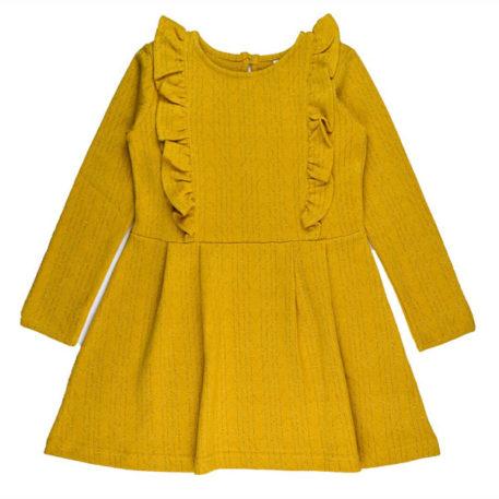 Baba Babywear Ruffle Dress Gold Jacquard