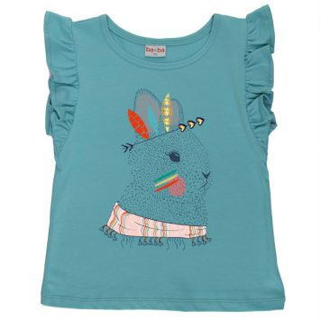 Baba Babywear Ruffle Shirt Light Blue Rabbit