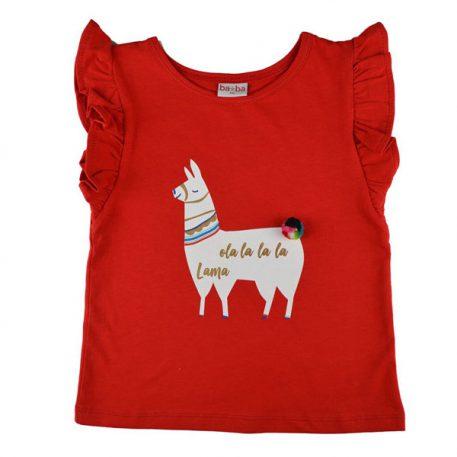Baba Babywear Ruffle Shirt Red Lama