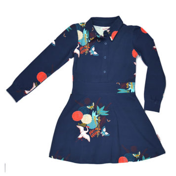 Baba Babywear Shirtdress Crane Birds