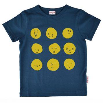 Baba Babywear T-shirt Funny Faces Dark Blue