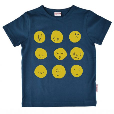Baba Babywear T-shirt Funny Faces Dark Blue