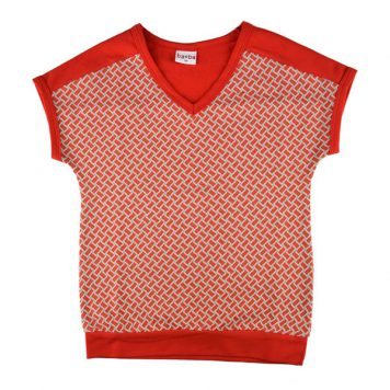 Baba Babywear V-neck Shirt Jacquard Red Bricks