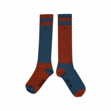 CarlijnQ Knee Socks Color Block Ginger/Blue
