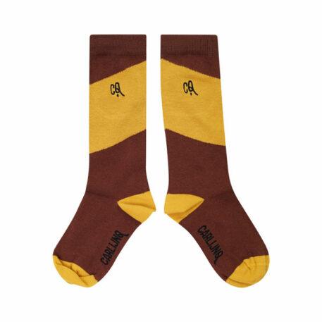 CarlijnQ Knee Socks Diagonal Brown/Yellow