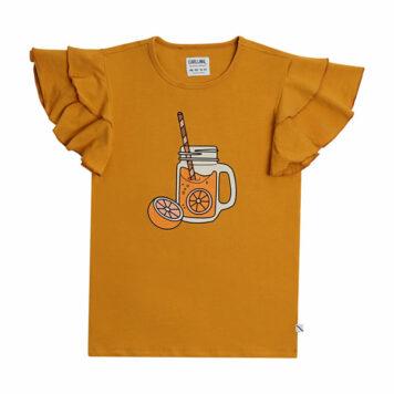 CarlijnQ Ruffled T-Shirt Print Lemonade Yellow