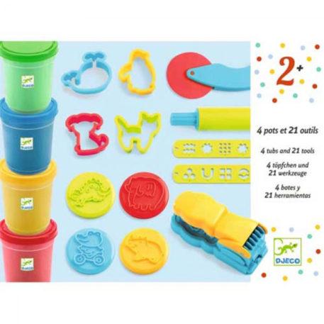 Djeco Boetseerklei met 4 potjes en 21 accessoires