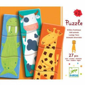 Djeco Houten Puzzel 1.2.3 Grappige Dieren