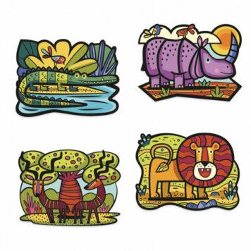 Djeco Kleuren met Fluweel - Dieren van de Savanne 3+