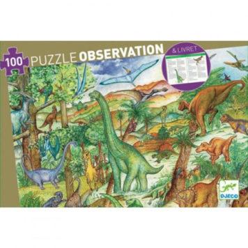 Djeco Observatie Puzzel Dino's 100ST+boekje