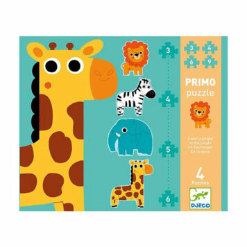 Djeco Puzzel 4 Jungle-dieren (3,4,5,6 st) 2+