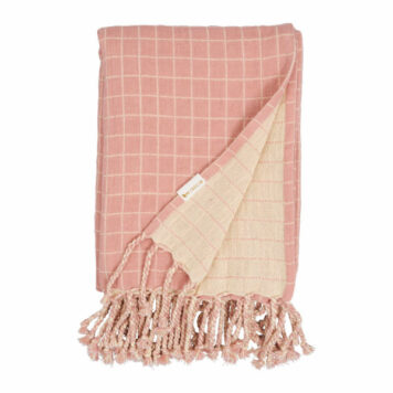 Fabelab Baby Blanket Grid Old Rose