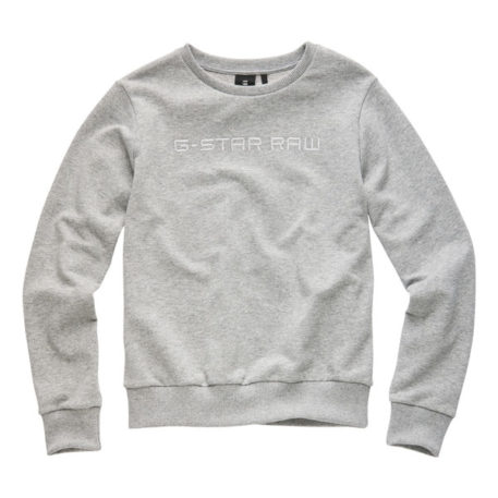 G-Star Girl Sweater Logo Silver Gris Clair