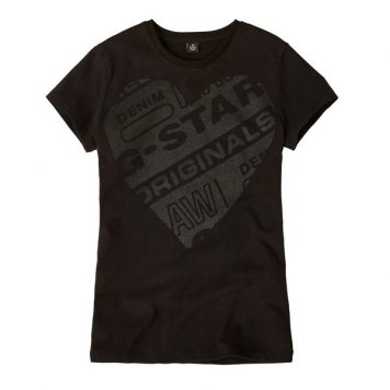 G-Star Girl T-Shirt Logo Original Black Heart