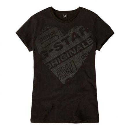 G-Star Girl T-Shirt Logo Original Black Heart