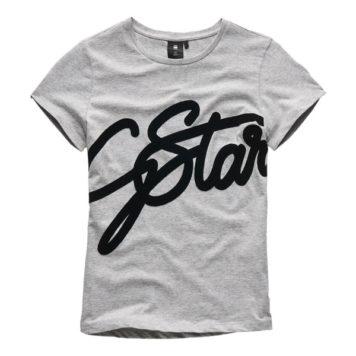 G-Star Girl T-Shirt Logo Script Industrial Grey