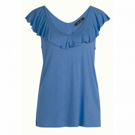 King Louie Vicky Ruffle Top Uni Moonlight Blue