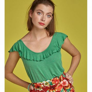 King Louie Vicky Ruffle Top Uni Peapod Green