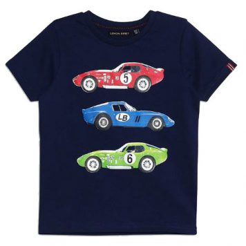 Lemon Beret T-shirt Race Cars Dark Blue