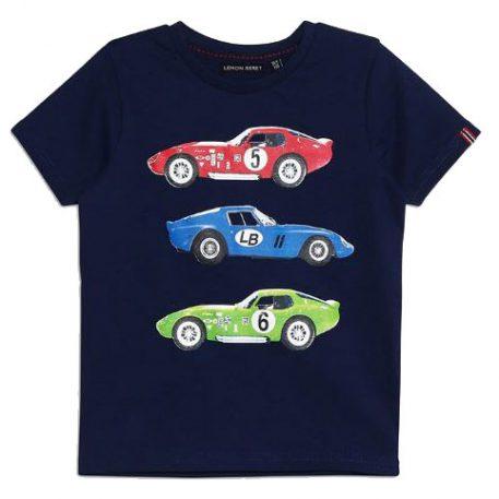 Lemon Beret T-shirt Race Cars Dark Blue