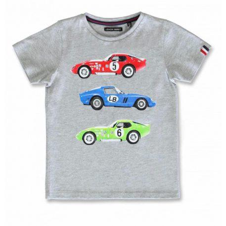 Lemon Beret T-shirt Race Cars Grey
