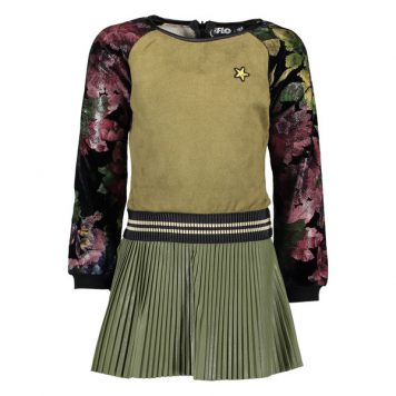 Like Flo Army Plisse Dress