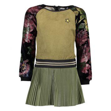 Like Flo Army Plisse Dress