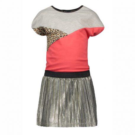 Like Flo Colour Block Dress Metallic Plisse Skirt