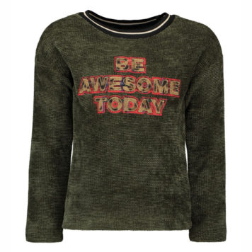 Like Flo Girls Chenille Sweater Forest