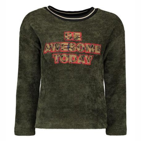 Like Flo Girls Chenille Sweater Forest