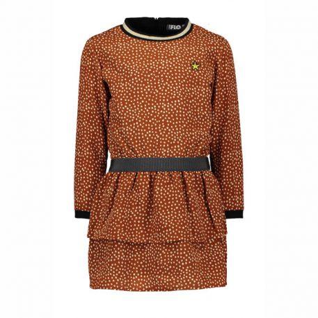 Like Flo Girls Cognac Dot Dress