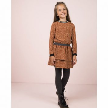 Like Flo Girls Cognac Dot Dress