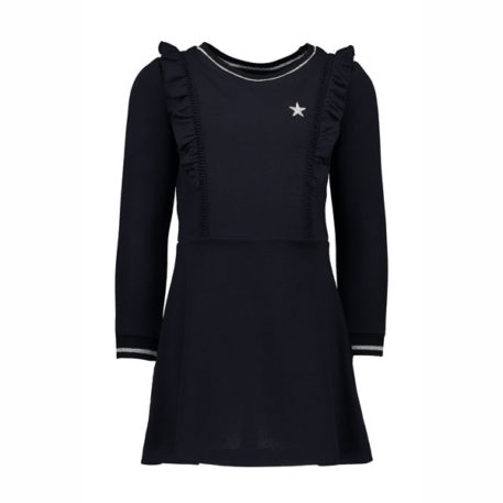 Like Flo Girls Crepe Ruffle Dress Navy