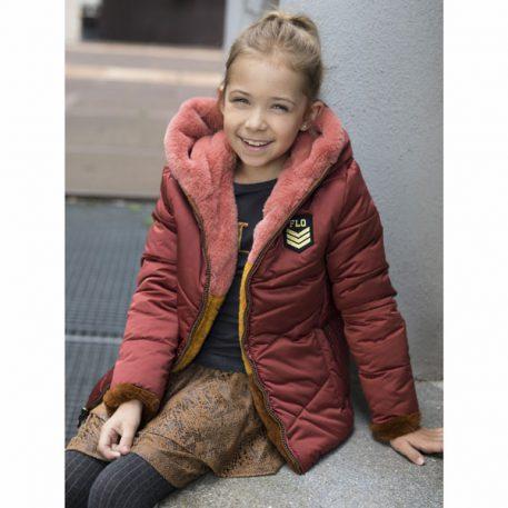 Like Flo Girls Reversible Jacket Colour Block Fur