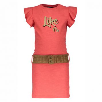 Like Flo Jersey Ruffle Dress Lipstick