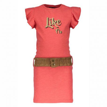 Like Flo Jersey Ruffle Dress Lipstick
