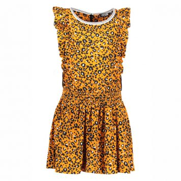 Like Flo Ruffle Dress Oker Animal