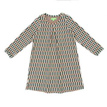 Lily Balou Alizee Dress Jacquard Blocks Green