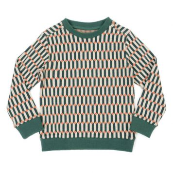 Lily Balou Mika Sweatshirt Jacquard Blocks Green