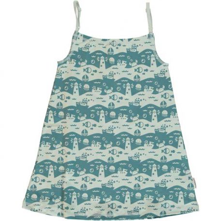 Maxomorra Dress Spaghetti Ocean Landscape