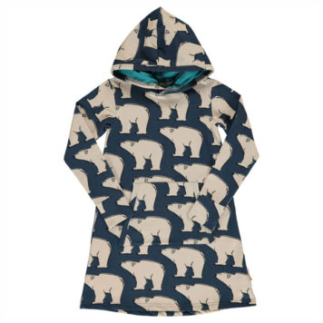 Maxomorra Hoodie Dress Polar Bear