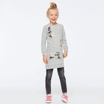Molo Dress Cassia Grey Rabbit