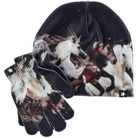 Molo set muts en handschoenen Kaya Running Unicorns