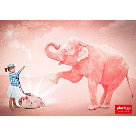 Play&Go speeltapijt-opbergzak Pink Elephant van A Little Lovely Company