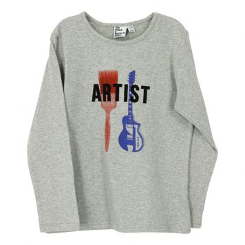 Six Hugs & Rock 'n Roll Longsleeve Artist Grey