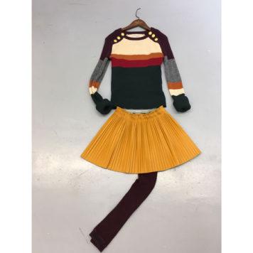 Street Called Madison Luna Plisse Imi Leater Skirt Yellow