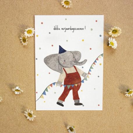 Studio Bertha Postkaart Dikke Verjaardagszoenen